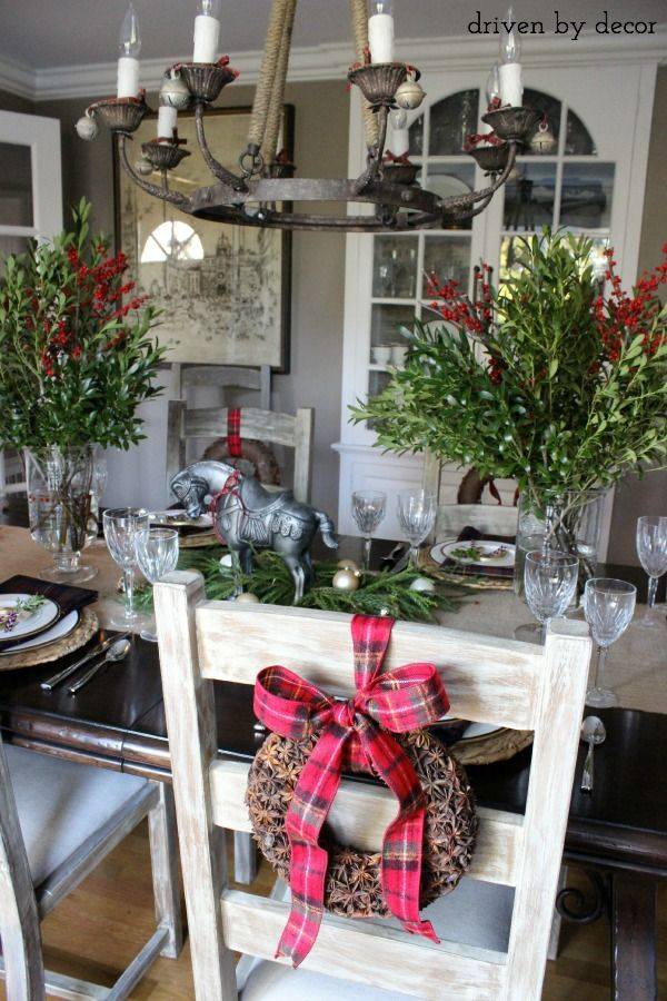 For a holiday centerpiece that you can use in your home year-round, find a sculpture or figure that you love (my silver horse was a HomeGoods find) and tie a festive ribbon around it to dress it up for the season! (sponsored pin)
