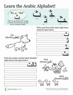 Third Grade Arabic Foreign Language Worksheets: Arabic Alphabet: Tha