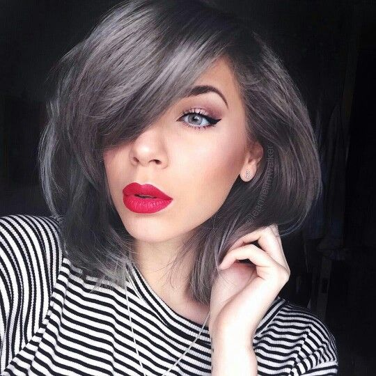Dark silver hair, granny hair