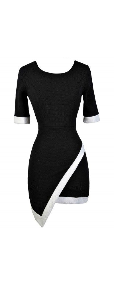 Lily Boutique Contrast Trim Crossover Hemline Pencil Dress in Black, $34 Black Pencil Dress, Black and White Asymetrical Pencil Dress, Cute Pencil Dress, Little Black Dress, Black Crossover Hemline Pencil Dress, Cute Black Dress www.lilyboutique.com
