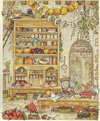 More of the amazingly detailed illustrations of the world of Brambly Hedge.  Mousie has a full larder!