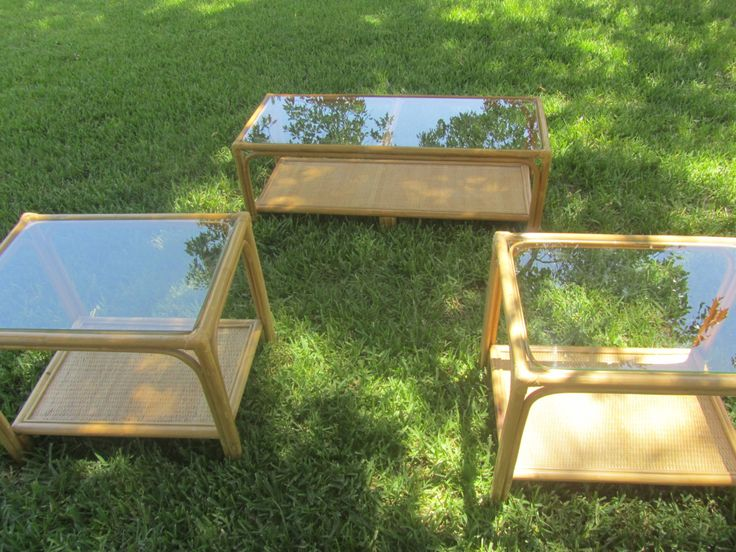 Wicker Coffee Table, End Table, Furniture, Coffee Table, Glass Top Table,