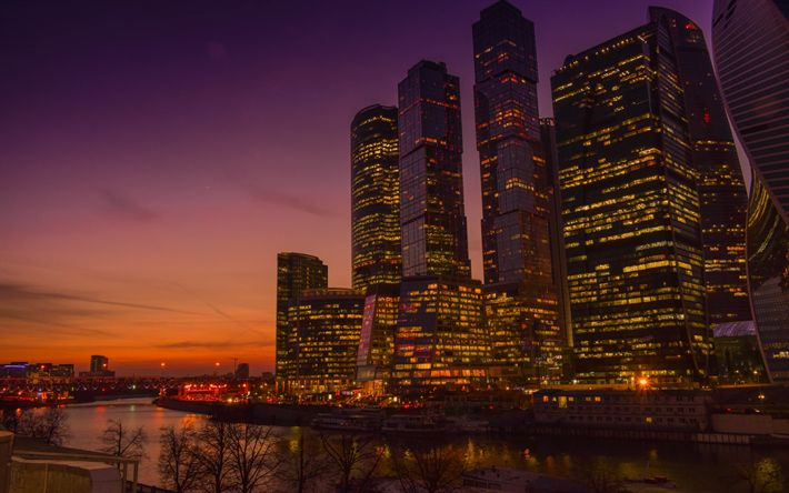 Hämta bilder Moscow City, skyskrapor, business center, Moskva-floden, kväll, Moskva, Ryssland