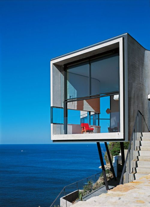 red chair on extreme balcony
