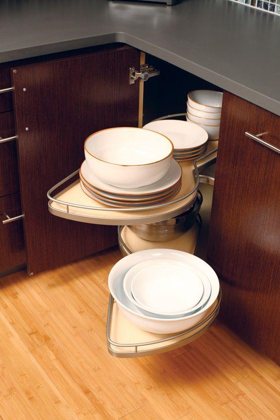 kitchen corner cabinet shelves pivot and pull out for. Black Bedroom Furniture Sets. Home Design Ideas