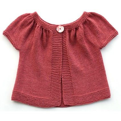 Love this sweet little cardi ---pattern has directions for both short and long sleeves --easy and quick stitching!