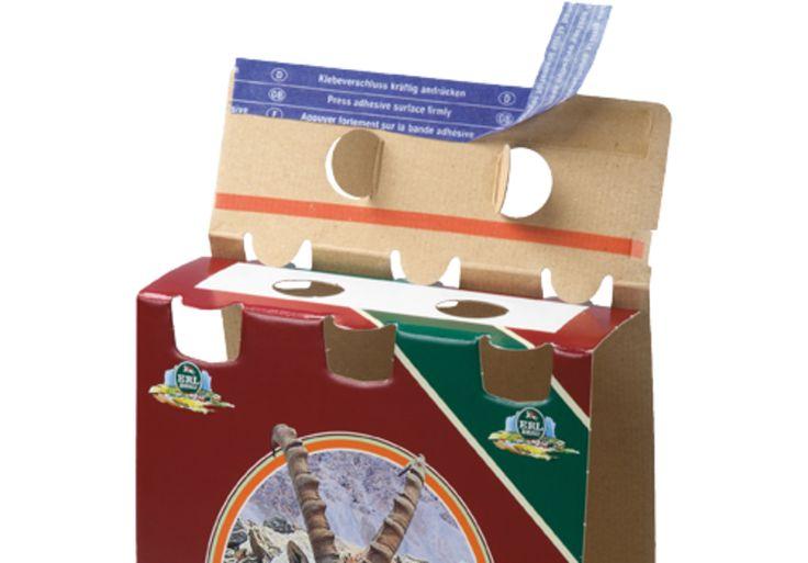 6er Bier Träger •Integrierter Selbstklebeverschluss für rationelles Verschließen • #Dinkhauser Kartonagen, #Getränkeverpackung, #Offsetdruck