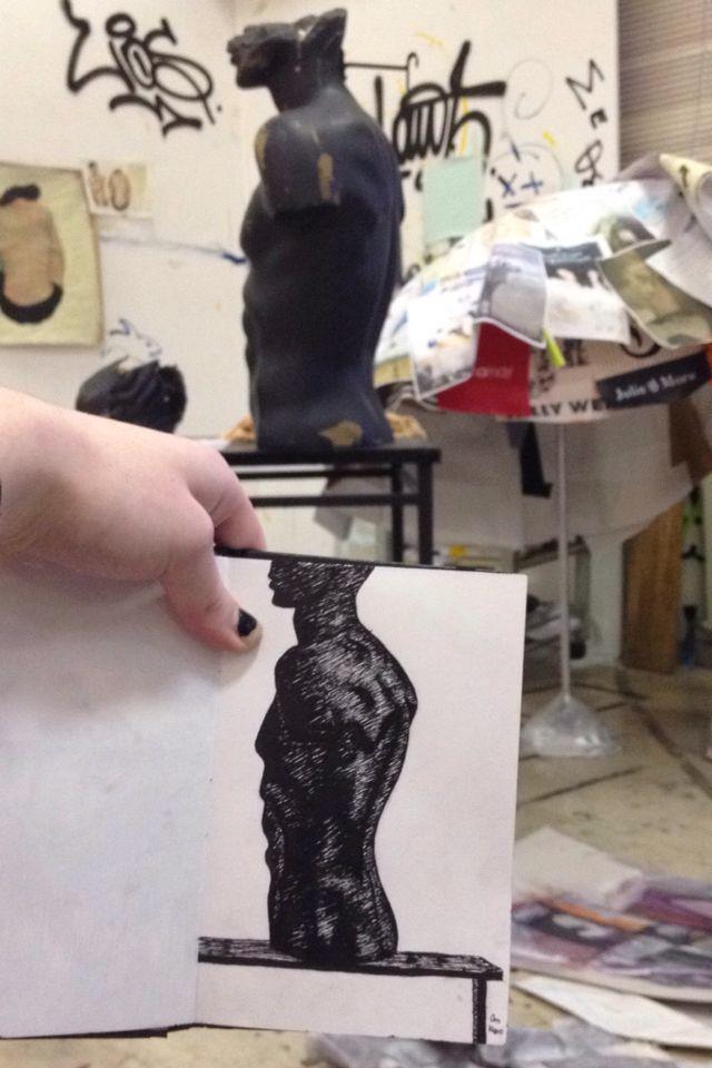 Ink, rapidographs, fine arts, university of ioannina, statue