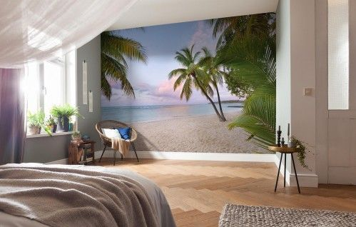 I love the idea of having a wallpaper mural in my bedroom of my dream place... a Hawaiian beach at the most beautiful pink sunset