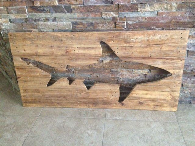 Distressed Shark Pallet Art by BBSIGNSDESIGNS on Etsy https://www.etsy.com/listing/174028398/distressed-shark-pallet-art