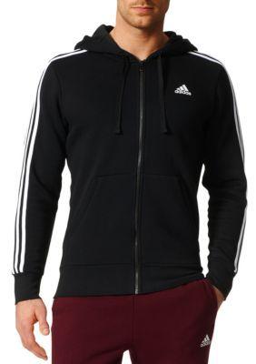 Adidas Men's Essentials 3 Stripes Fleece Hoodie - Black/Whit - 2Xl