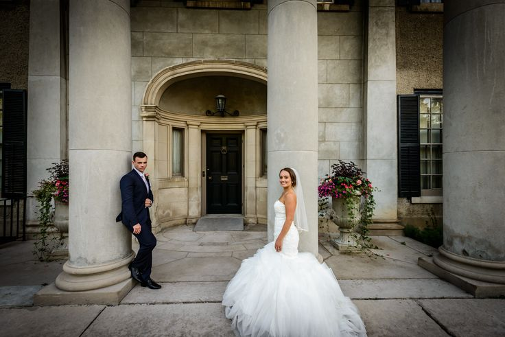 Bride and groom in front of the Parkwood Estates in Oshawa   Toronto Wedding Photographer Pedram Navid