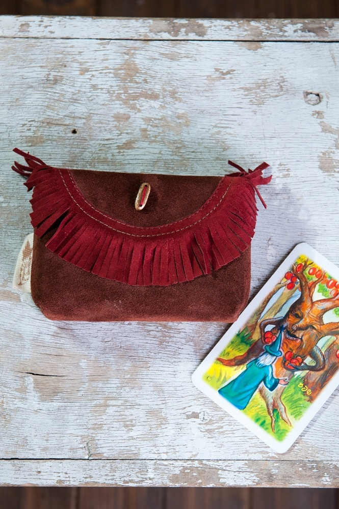 Leather Tarot Bag, Leather Case for cards, Adjusted to Merlin the Magician cards, Osho cards, Tarot card pouch, Made to Order. $29.00, via Etsy.