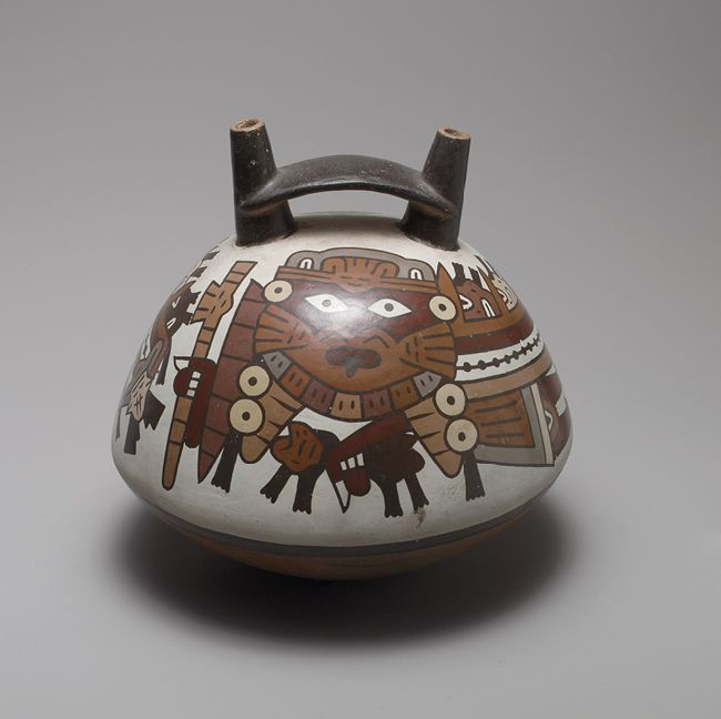 Double-spout bottle, 2nd–4th century Peru; Nazca Ceramic