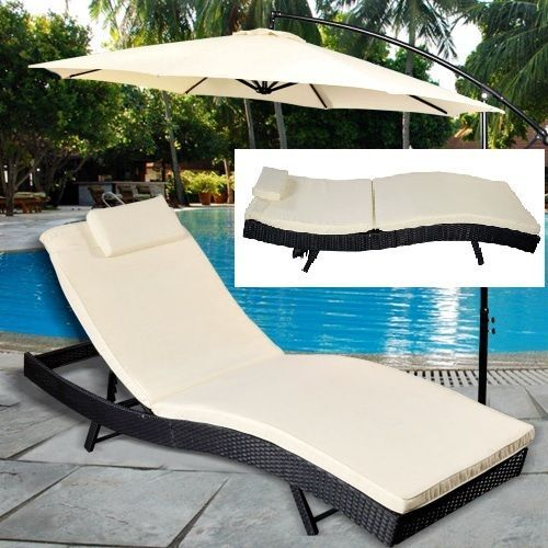 Garden Adjustable Chaise Lounge Chair Patio Furniture Pool Day Bed Cushion Pad  #GoPlus