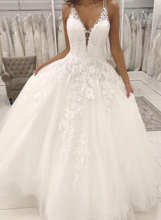 White V-Neck Lace Top Wedding Dress,Sleeveless Tulle Evening Dress