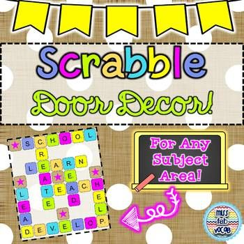 """Looking for a classroom decor hack? Invite students into your classroom with this fun take on the word game, """"Scrabble"""". The letters provided can be printed and assembled to spell school-based words that will be sure to welcome all learners! 3 options for"""
