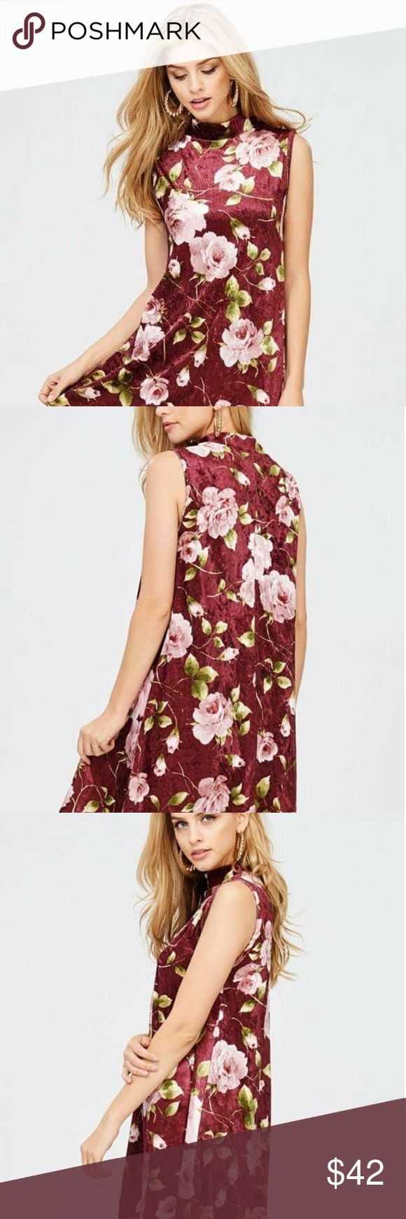 Red Lolly romantic midi dress This beautiful red velvet print dress with mock neck. Free flowing and super comfy. Red Lolly Dresses Midi