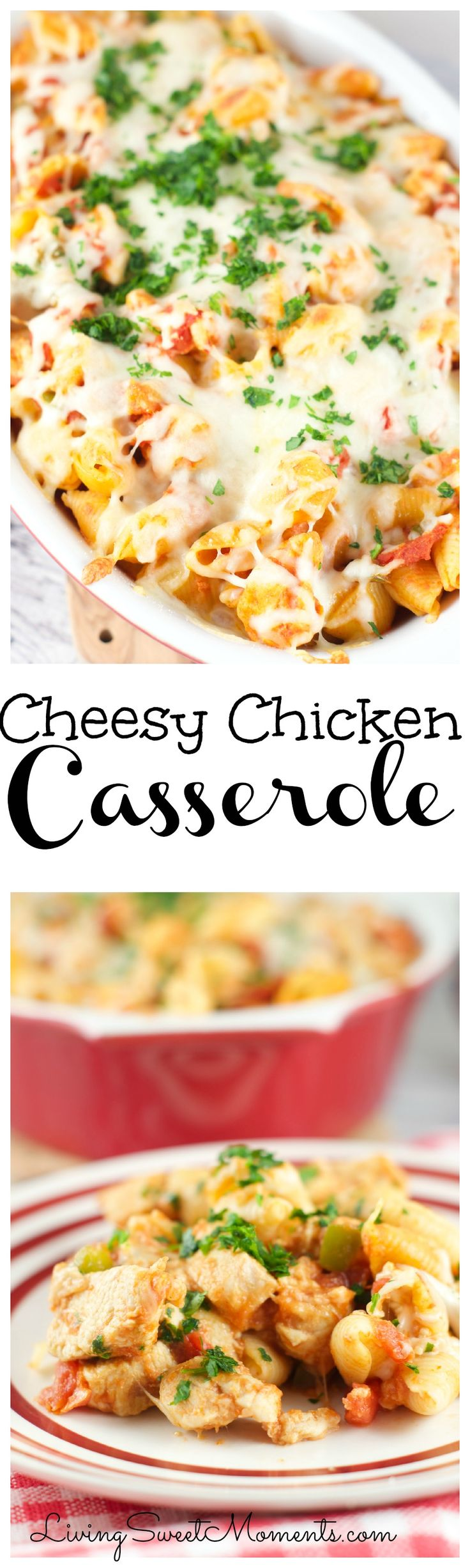 Cheesy Chicken Casserole - Only 6 ingredients. Made with pasta, tomato and cheese. This easy quick dinner recipe is delicious, hearty and oh so satisfying.