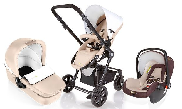 Gondola assembly, stroller and Kiddy car seat, with a lightweight aluminium frame and simple folding mechanism, swivel and pneumatic wheels