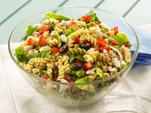 Greek Tossed Pasta Salad  Try adding broccoli and cauliflower florets, and shredded carrots. Instead of the suddenly salad pasta mix, cook rotini noodles and use Newman's Own caesar dressing