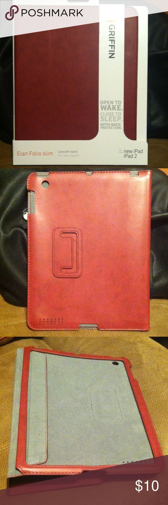 iPad/iPad 2 Griffin Slim Case/Stand 🌟🌟FREE stylus with all electronics purchases!! 🌟🌟Crimson Red Élan Folio Slim Griffin case with grey felt interior. Folds into a stand. Automatically wakes and sleeps your device when you open and close the case. Griffin Accessories Tablet Cases