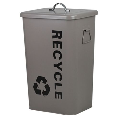 25L Steel Recycling Bin Taupe With Lid & Handles