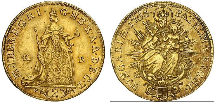 AV Double Ducat. Hungary Coins, Habsburg Rulers. Maria Theresia 1740-1780. Kremnitz mint, 1765 KB. 6,86g. F 179. Nearly EF. Price realized 2011: 850 USD.