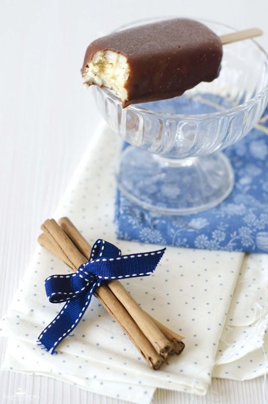 Helado tipo magnum de barritas de cereales y crema catalana