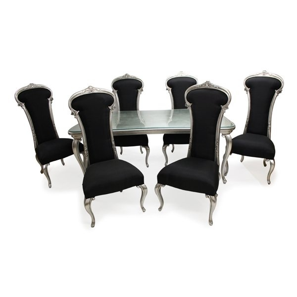 Stunning 'Dauphin' dining set in black and silver. Chichi furniture.