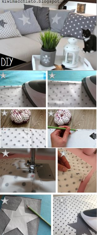 DIY pillowcase with a star Kiwi Macchiato Kissen mit stern