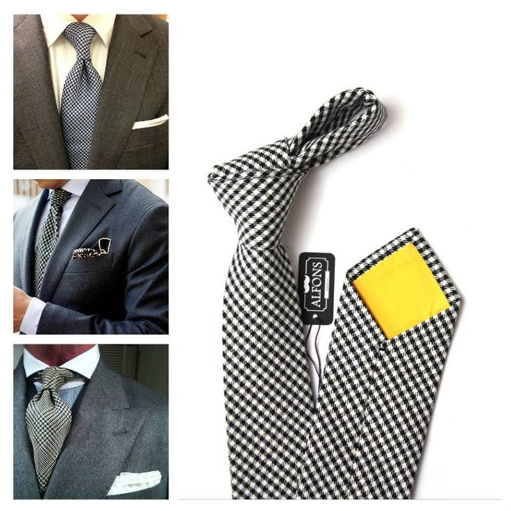 Stylish houndstooth tie. How to wear this tie? Grey suit and white pocket square is great combination. #tie #suit #menfashion #style #ootd #inspiration #outfitinspo #outfit #guys #style.