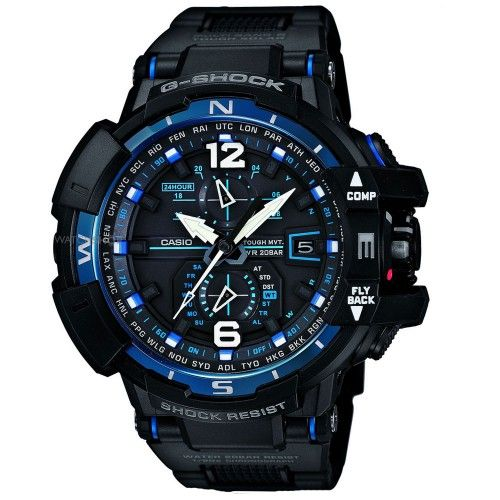 Casio G-Shock Premium black and blue radio controlled watch GW-A1100FC-1AER - includes the latest precision timing technology and many more features RRP £600 Our Price £420