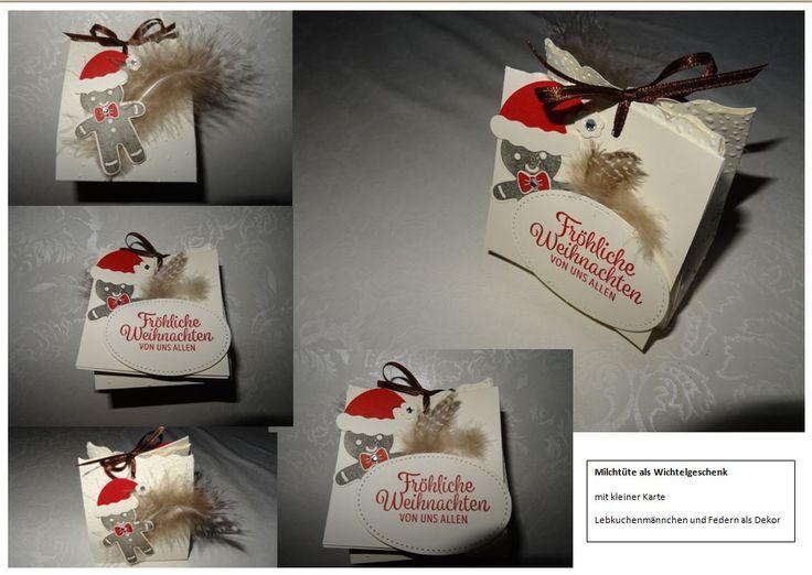 Stampin up SU Weihnachten Verpackung Box Lebkuchenmännchen ausgestochen weihnachtlich vanille schokobraun glutrot flüsterweiß Sizzix Geschenktüte L Mini Milchkarton BIG Shot Stanze 117310 Tüte Framelits Cozy Critters Wichtelgeschenk Schule Mädchen Klasse Schneeflocken Prägeform Federn kleine Karte Weihnachten Nikolaus
