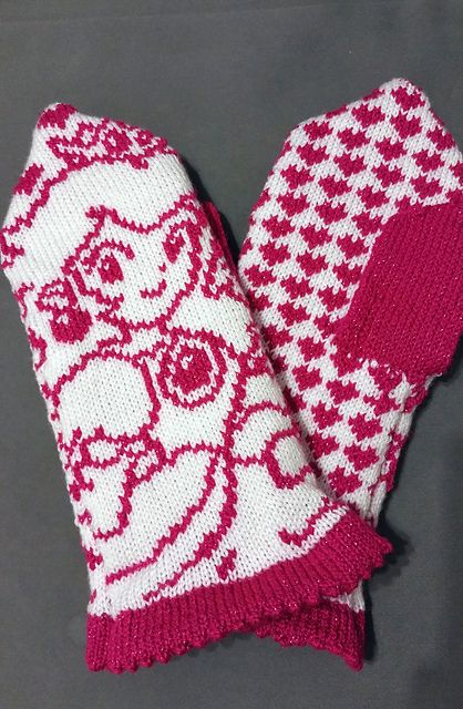 Make these sweet Princess Peach (Super Mario Bros) mittens with Lion Brand Vanna's Glamour! Get the pattern on Ravelry.