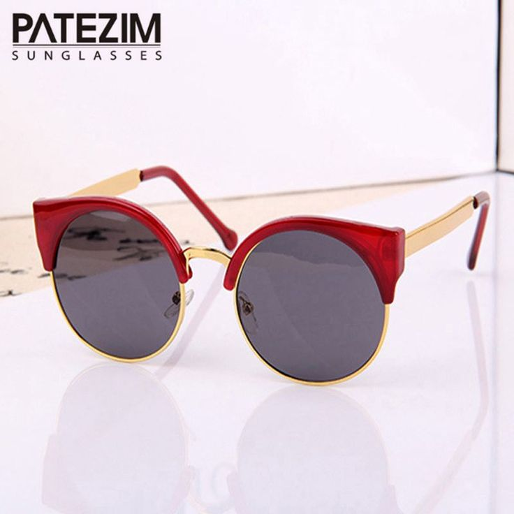 2017 New Fashion Retro Designer Women Round Circle Glasses Cat Eye Semi-Rimless Vintage Sunglasses Goggles Oculos de sol #clothing,#shoes,#jewelry,#women,#men,#hats,#watches,#belts,#fashion,#style