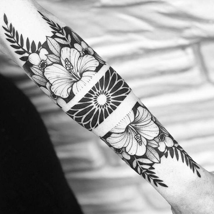 Negative Space Floral Armband Tattoo Hawaiiantattoos