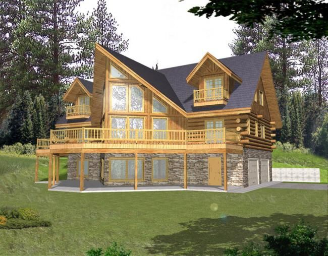 Luxury Cabin House Plans with Walkout Basement