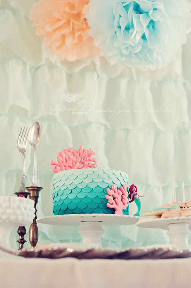 mermaid birthday party  Maybe make some coral out of white chocolate drizzle tinted pink food coloring?