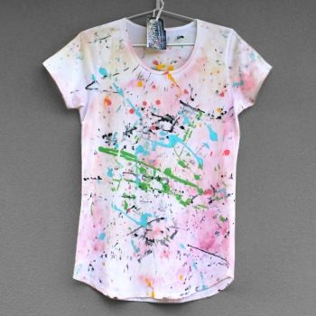 Smukie | Clothing | Women's Clothing | CRAZY 90'. Hand painted cotton T-shirt for woman or girl. - Handmade Emporium