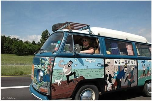 Tintin comic painted and inspired Volkswagen camper van • hippie style • Tintin, Herge j'aime