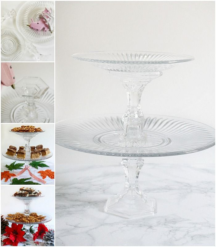 2 Tier Serving Tray Using Dollar Tree Glass Trays And