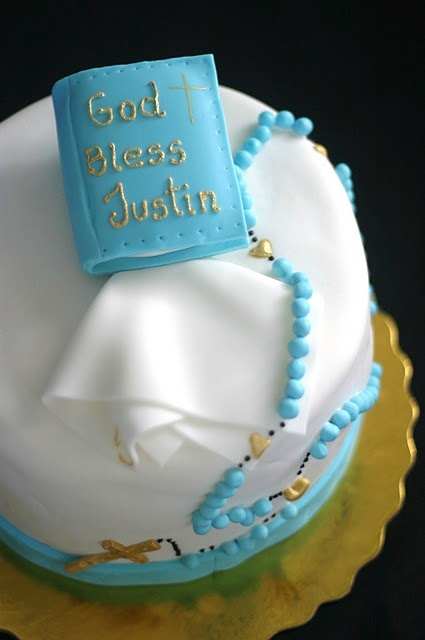 Adorable first communion cake.