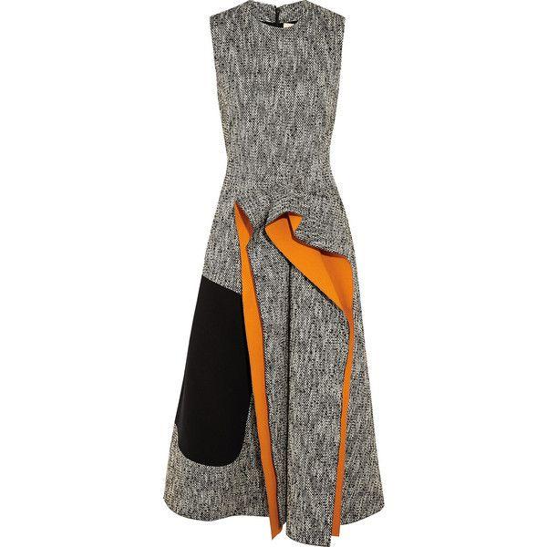 Roksanda Decker cady-paneled tweed midi dress ($2,230) ❤ liked on Polyvore featuring dresses, midi dress, flounce dress, ruffle dress, kohl dresses and black ruffle dress