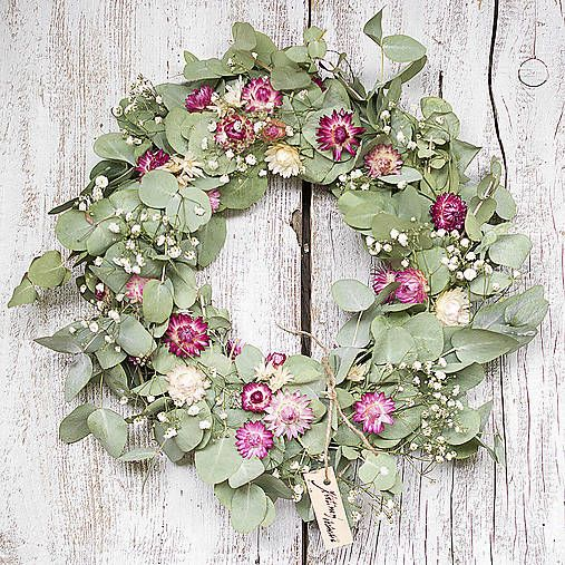 Dry flowers wreath, Cinerea, green and pink