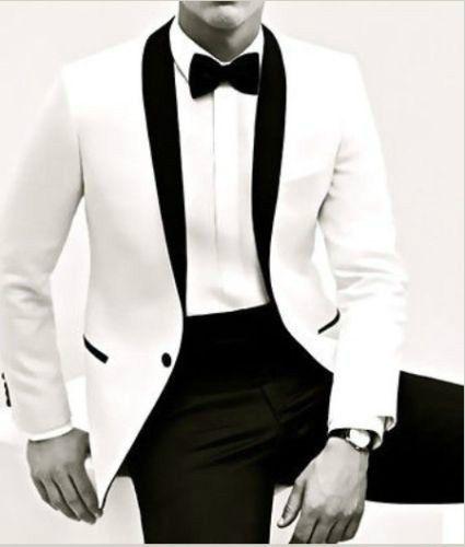 CUSTOM MADE TO MEASURE MEN SUITS,BESPOKE WHITE JACKET BLACK SHAWL LAPEL & PANTS #Custommaketoorder #Thepicturestyle
