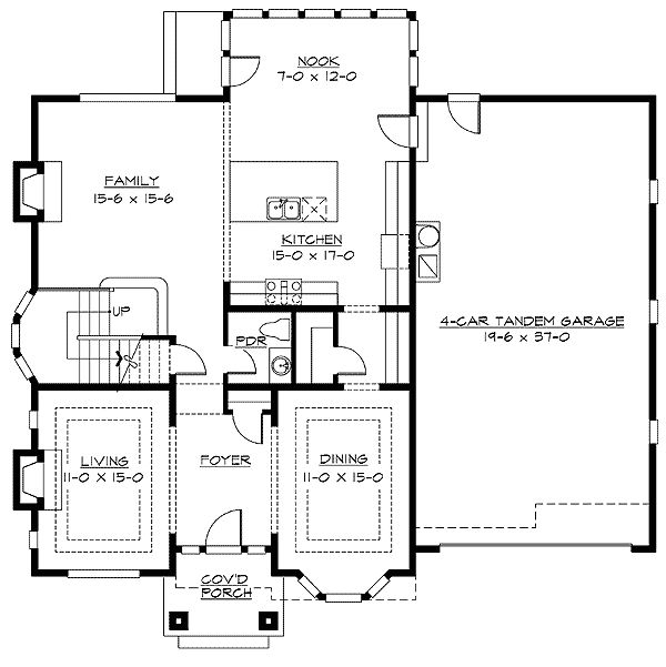 floorplans+with+rear+garage | Plan W2369JD: 4 Car Tandem Garage