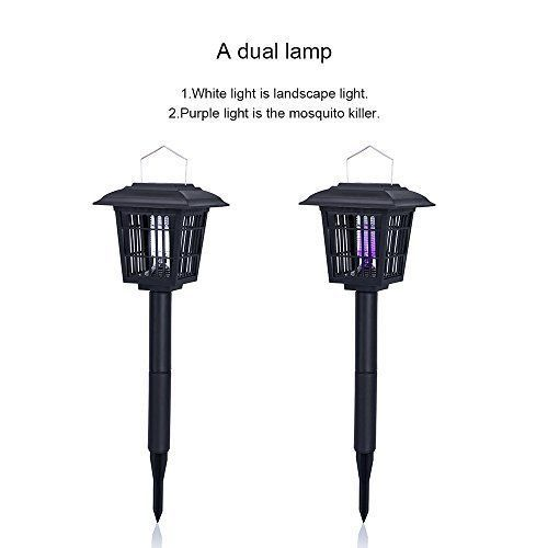Solar Powered Insect Killer Mosquito Bug Zapper Garden Lamp Hang Stick Ground #SolarInsectKillerBugZapper