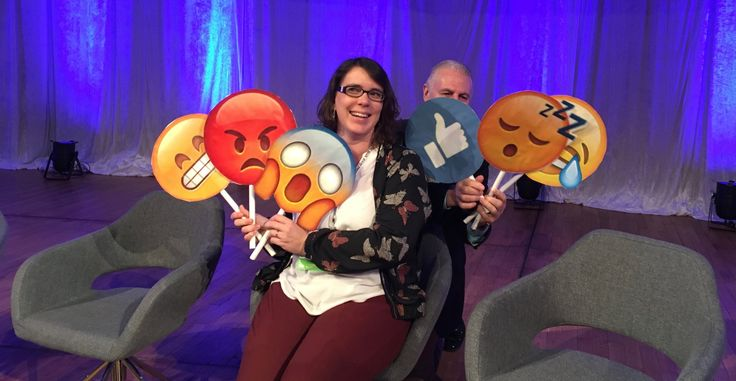 Panelists with Emojies - Adline Lequillon, ECCO – European Cancer Organization and John Schehl, National Roofing Contractors Association trying to hide in the background
