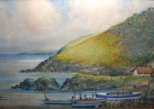 Edward Sharland - Coastal Scene With The Cadgwith Lifeboat